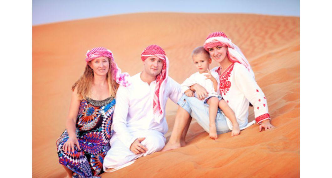 family pic in desert safari